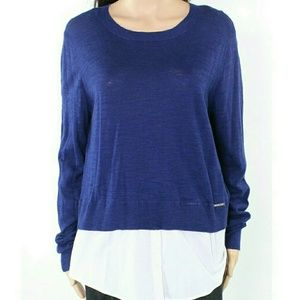 Soft Light Weight Layered Sweater with Faux Shirt